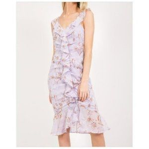 New Loveriche Lilac Floral Ruched Ruffle Dress
